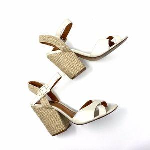 AREZZO Off White Leather Espadrille Sandals
